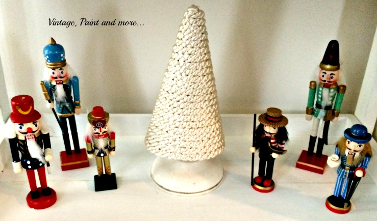 Vintage, Paint and more... vintage nutcracker decor with a diy satin cord cone tree