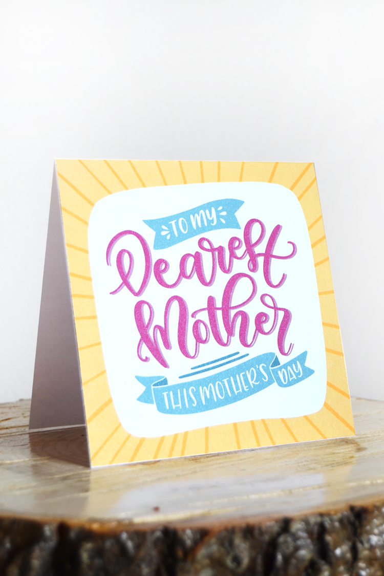 handlettered mothers day card
