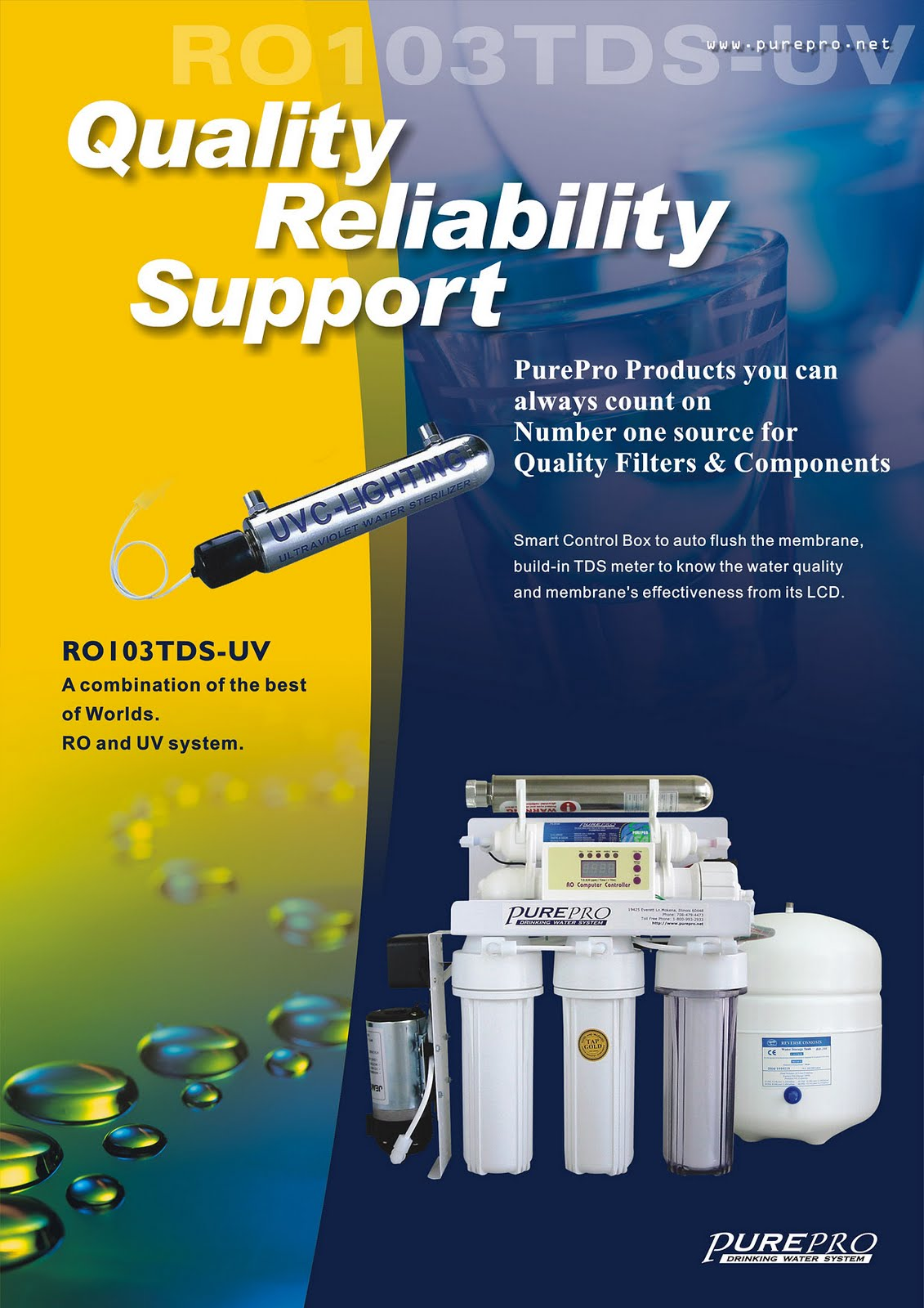 PurePro® RO103TDS-UV  Reverse Osmosis Pure Water Filtration System