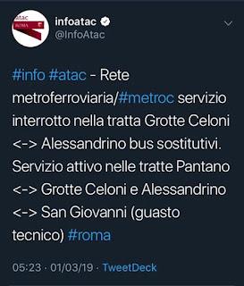Blocco Metro C: bus sostitutivi fra Grotte Celoni e Alessandrino