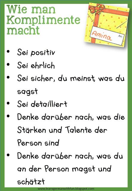 So gibt man Komplimente- Merkblatt für Grundschule