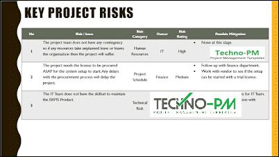 Key Project Risks, project kickoff meeting, kick-off meeting