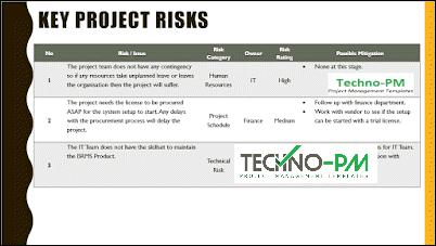 Key Project Risks, project kickoff meeting, kick-off meeting