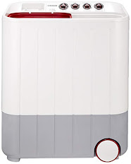 Samsung 6.5 kg Semi-Automatic Top Loading Washing Machine (WT657QPNDPGXTL, White and Maroon, Double