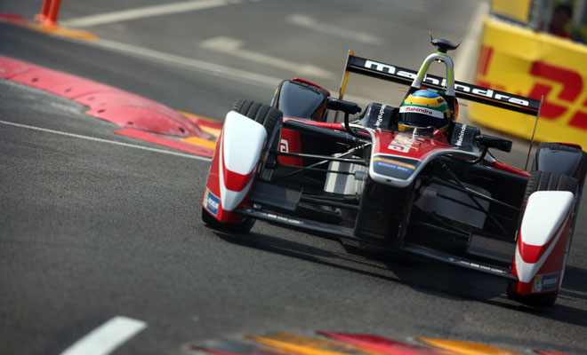 Mahindra Formula E car takes the chicane in Beijing