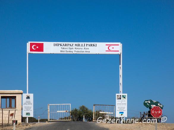 Kuzey Kıbrıs'ın en ucunda yer alan Dipkarpaz Milli Parkı girişi