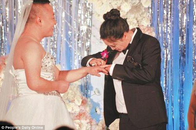 chinese man wears wedding dress