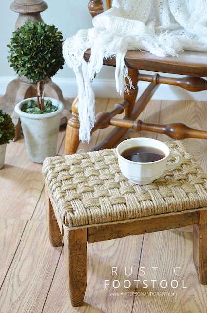 Dress up an old foot stool using some jute twine to upholster the seat.  |  anderson + grant