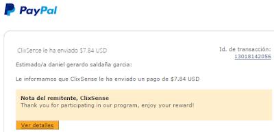 envio de pago por clixsense