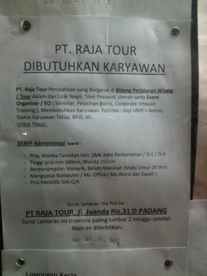 Lowongan Kerja di Padang – PT.Raja Tour – Administrasi (Penutupan 31 Jan.2017)