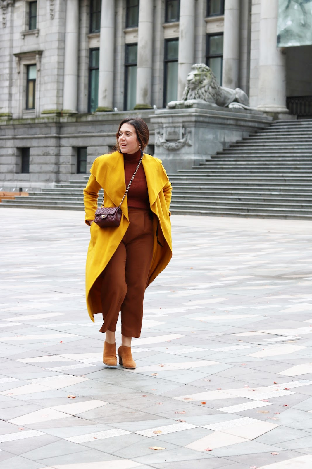 Mackage mai wool coat gold vancouver fashion blogger fall winter outfit rust