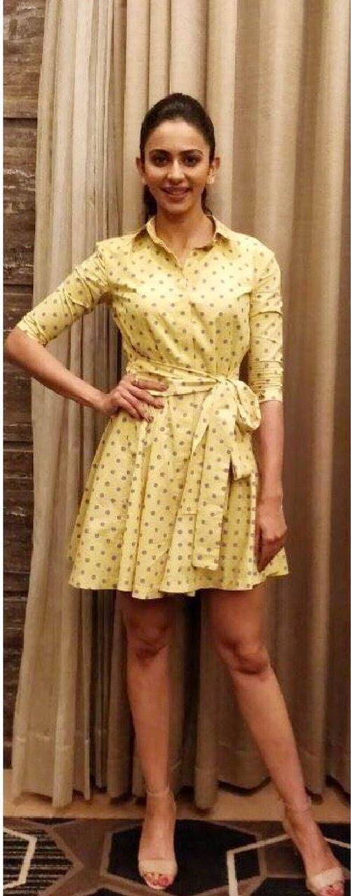 Telugu Actress Rakul Preet Singh Hot Long Legs Show In Yellow Top 2018