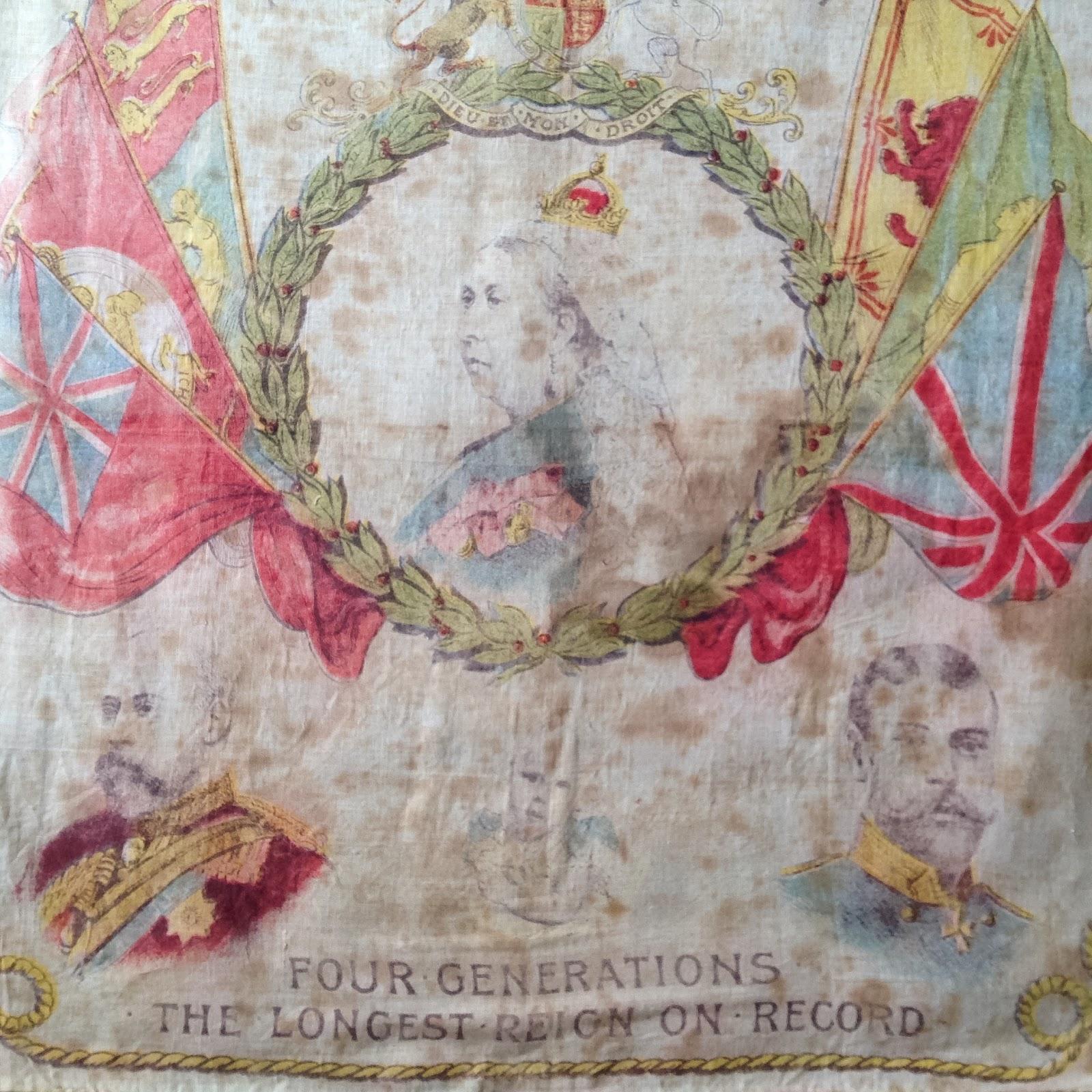 Detail of handkerchief celebrating queen victoria s diamond jubilee