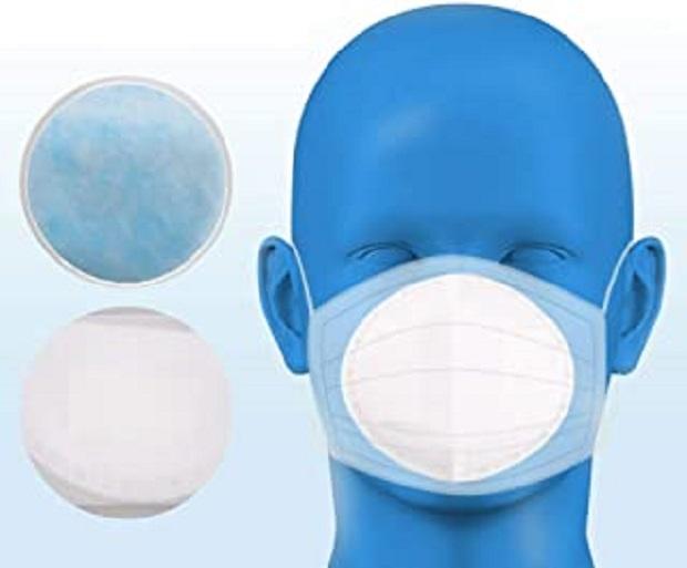 50 pièces Tampon de Filtre de Masque jetable, Tampon de Filtre de Masque, Tampon de Masque, Coussin de Respiration, Doux pour la Peau, Respirant (Ronde, Blanc)