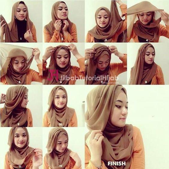 Kumpulan Gambar Tutorial Cara Memakai Hijab Cantik Imut