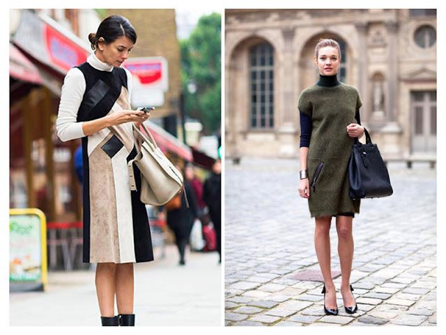 Водолазка с коричневым платьем в деловом стиле