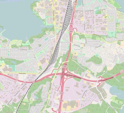 OpenStreetMap kartta, jossa koivistonkylän lähellä olevat asuinalueet