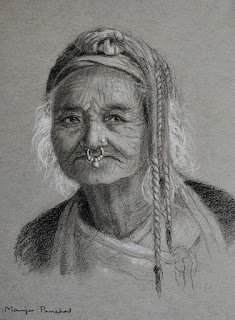 A portrait drawing of an old woman on Strathmore gray toned paper By Manju Panchal