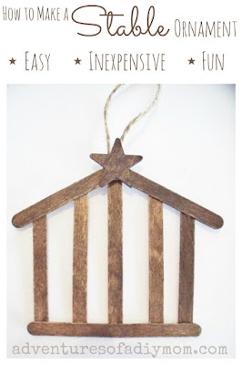 How to Make a Stable Ornament with craft sticks