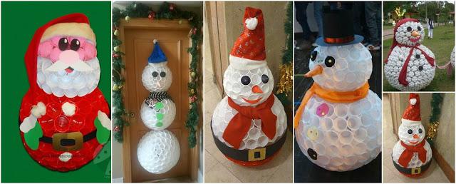 muñecos-nieve-vasos-reciclados