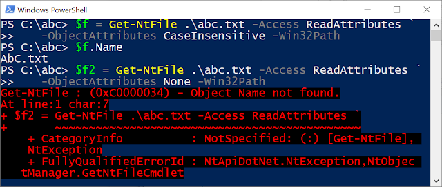 Running the same tests but with ObpCaseInsensitive set to FALSE. With OBJ_CASE_INSENSITIVE the file open succeeds, without the flag it fails with an error.