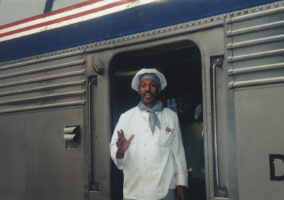 Amtrak Cook aboard the Empire Builder at Minot, North Dakota, on July 24, 1999