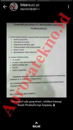 Info Lowongan Kerja PT. Indokores Sahabat Purbalingga Juni 2019