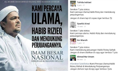 "Luar Biasa Dukungan Umat Islam Untuk Habib Rizieq, ""GERAKAN 7 JUTA STATUS"" Mengguncang Sosial Media"