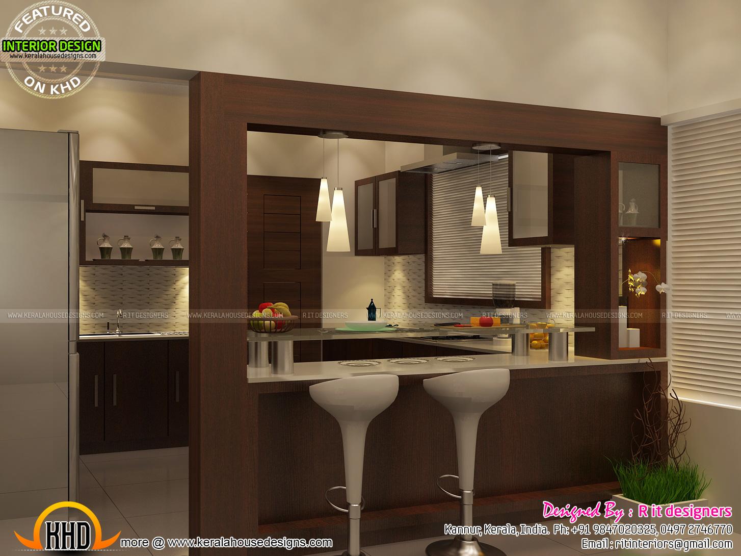 Open kitchen, living, skylight area interior