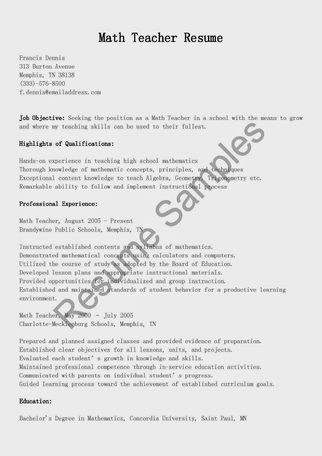 resume samples  math teacher resume sample