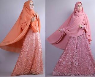 Model Baju Muslim Syari Bahan Brokat