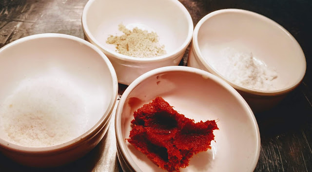 Thai Red curry paste, coconut milk powder, white pepper powder, salt for chicken satay recipe