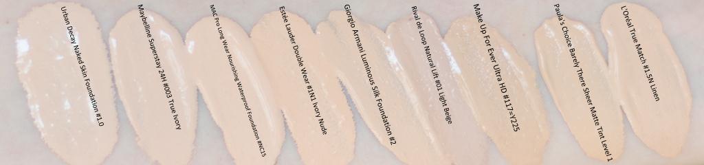 Die Urban Decay Naked Skin Foundation 1.0 im Swatch-Vergleich zu meinen anderen hellen Foundations