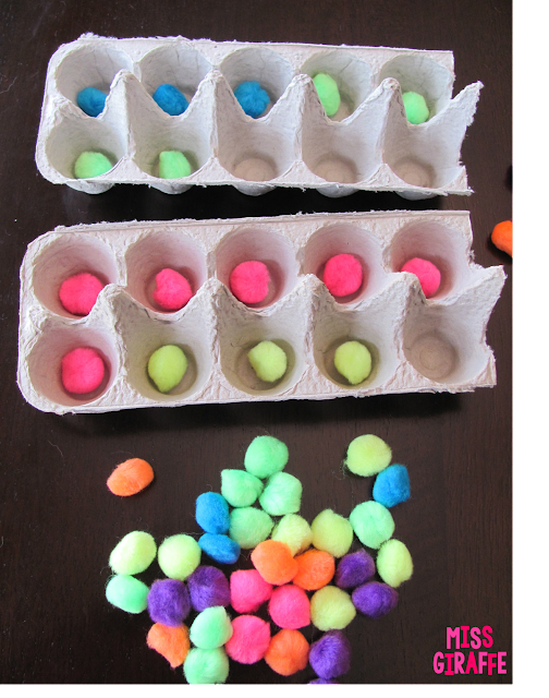 Recycle egg cartons (cut 2 compartments off) to make ten frames to use with pom poms - read this for a ton of math ideas!