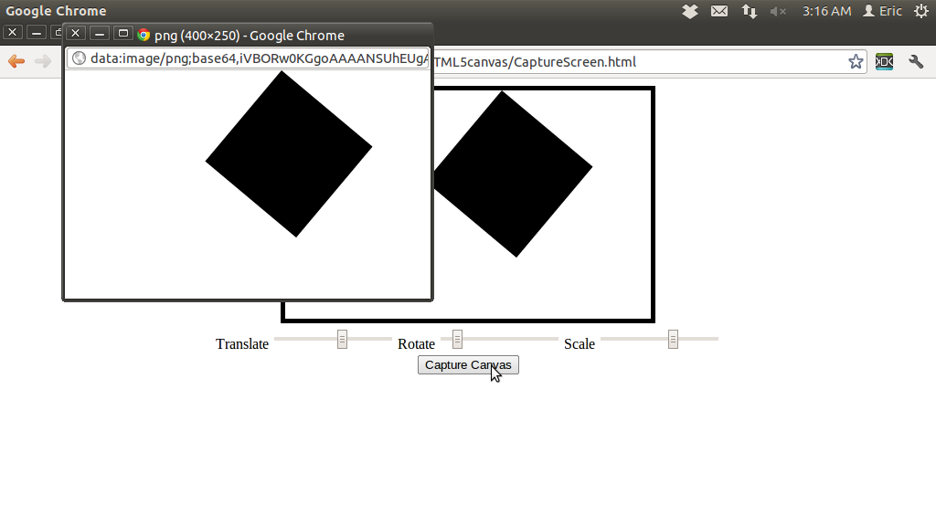 Mobile-Web-App: HTML5: Capture Canvas using CANVAS toDataURL()