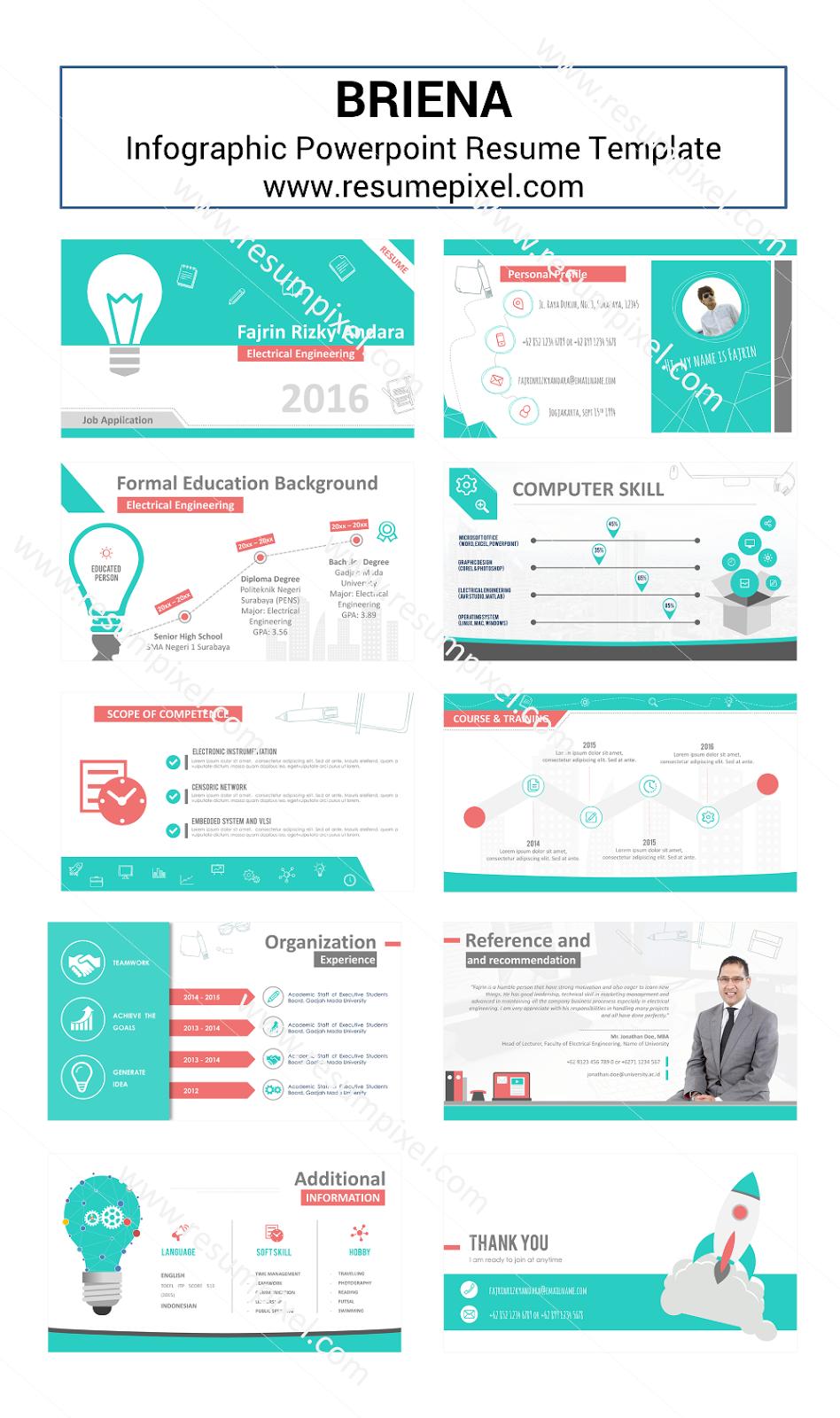 desain cv kreatif contoh cv dan resume powerpoint briena