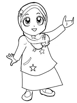 Gambar untuk mewarnai anak muslim - 5