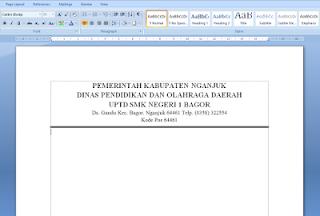 Cara Mudah Membuat Garis KOP Surat di Microsoft Word 2007/2010