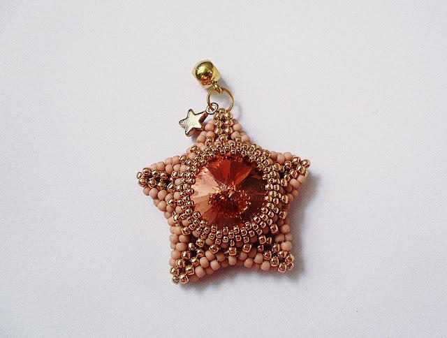 gwiazdka peyote,gwiazdka z koralików,gwiazdka z rivoli,koralikowelove,koraliki,beaded star