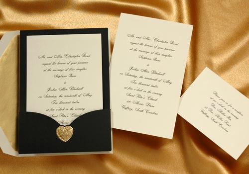 Gold Embossed Wedding Invitations: Perfect Party Press: Black And Gold Embossed Heart Wedding