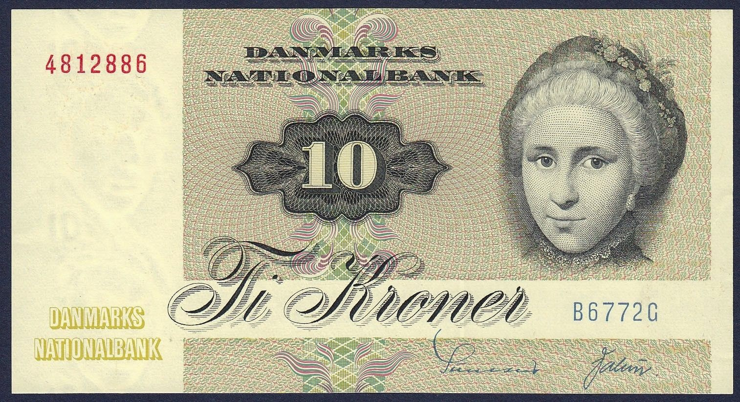 Banknotes of Denmark 10 krone banknote 1972 Cathrine Sophie Kirchhoff