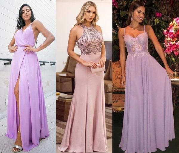 vestido lilás e lavanda para madrinha de casamento