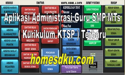 Aplikasi Administrasi Guru SMP/MTs ( Kurikulum KTSP ) Terbaru