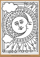 moon and sun detailed adult coloring pages