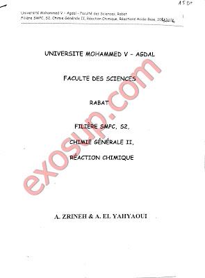 cours complet de chimie en solution SMPC S2 FSR