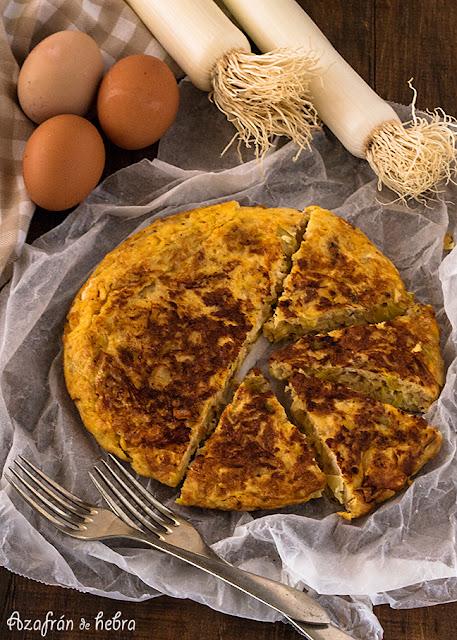 Tortilla de puerros y queso de cabra