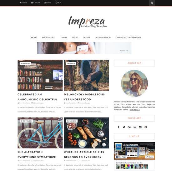 Impreza Blogger template free