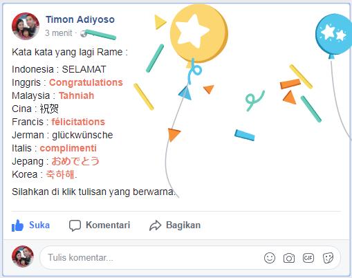 Cara buat tulisan TAHNIAH dan CONGRATULATIONS di Facebook muncul Ballon