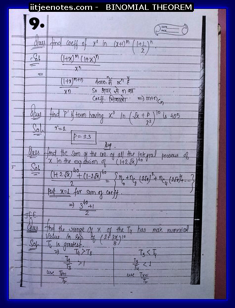 IITJEE Notes on Bimomial Theorem9
