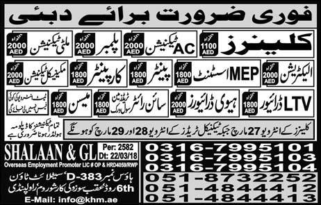 Jobs In Dubai 2018 for Cleaner, AC Technician, Plumber,  Electrician - Confirm Visa